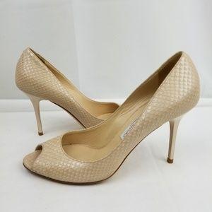 Jimmy Choo Snakeskin Leather Peep Toe Heels Pumps